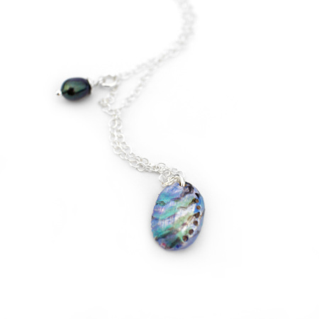 Paua Shell Necklace with Freshwater Pearl