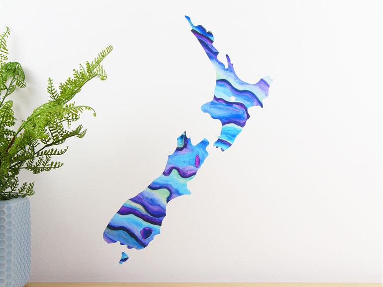 Paua shell New Zealand map wall decal