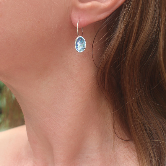 paua shell pearl blue green pink iridescent sea water ocean hoop earrings