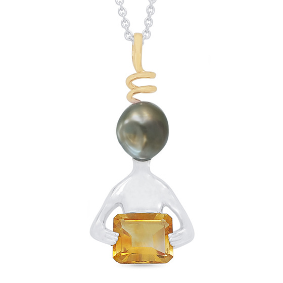 Paul - Alien Inspired Black Pearl and Citrine Pendant