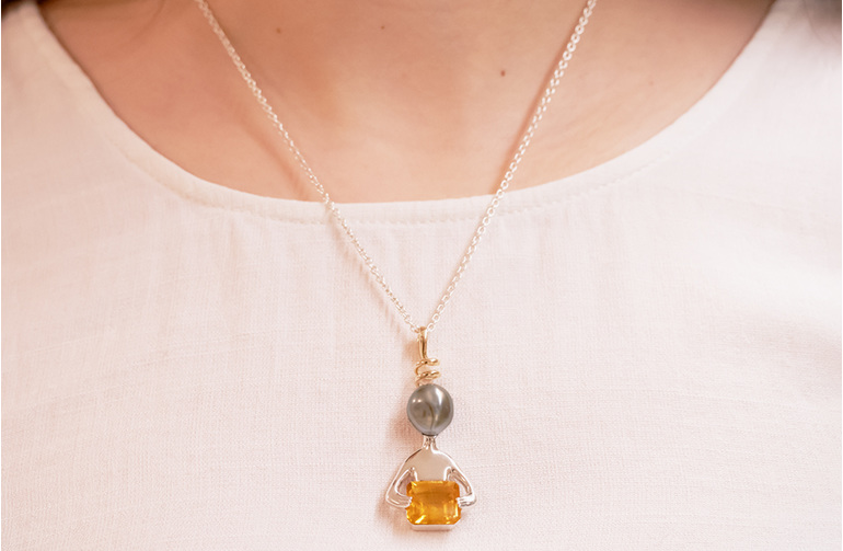 Paul - alien inspired pendant featuring a baroque black pearl and golden citrine