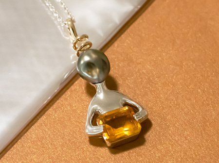 """Paul's"" Nacred Encounter: Alien Inspired Citrine and Black Pearl Pendant"