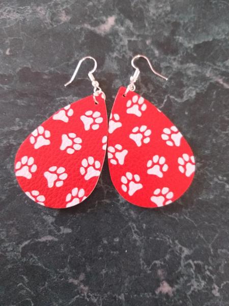 Paw Print Design Tear Drop Faux Leather Earrings - Style 5