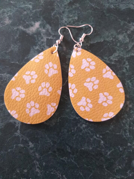 Paw Print Design Tear Drop Faux Leather Earrings - Style 2