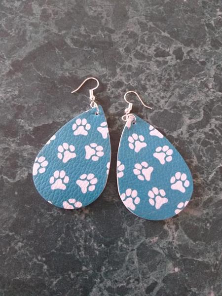 Paw Print Design Tear Drop Faux Leather Earrings - Style 1