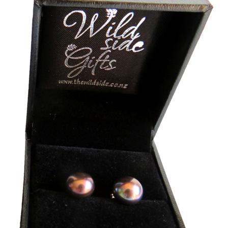 PE10 Large Black Freshwater Pearl Stud Earrings