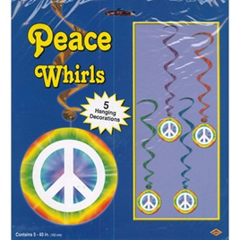 Peace Sign - Whirls - 5 hanging Decorations
