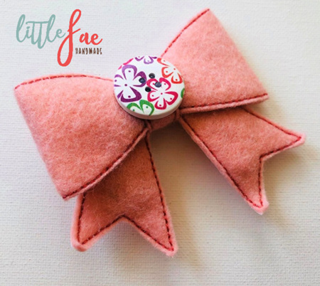 Peach Flower Bow Hair Clip