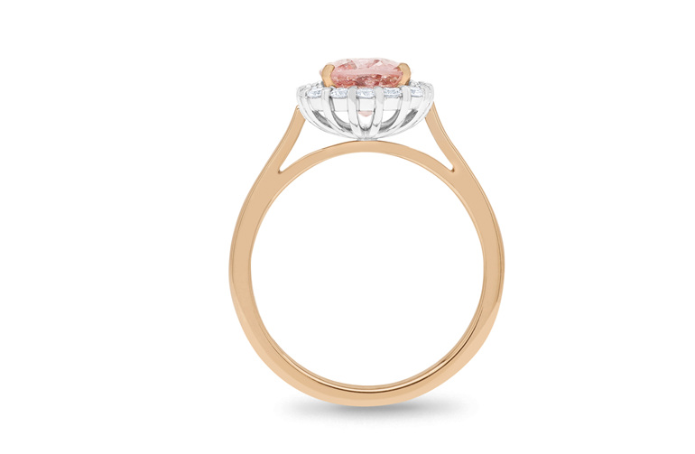 Peach pink spinel gemstone diamond cluster halo ring in 18ct rose white gold