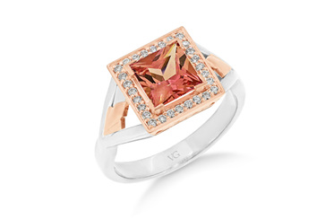 Peach Sapphire and Diamond Ring