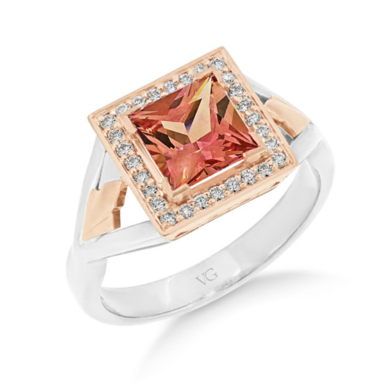 Peach Sapphire and Diamond Ring