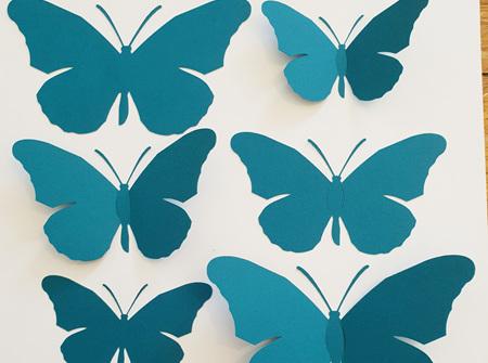 Peacock green paper butterflies