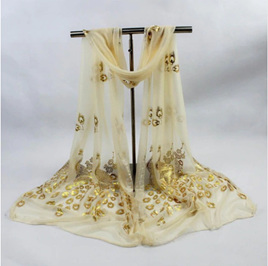 Peacock Long Scarf - GOLD