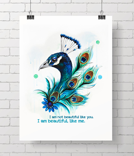 peacock with quote - on A3