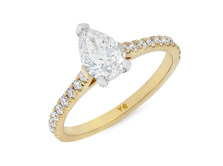 Pear Cut Diamond Solitaire with Diamond Set Band