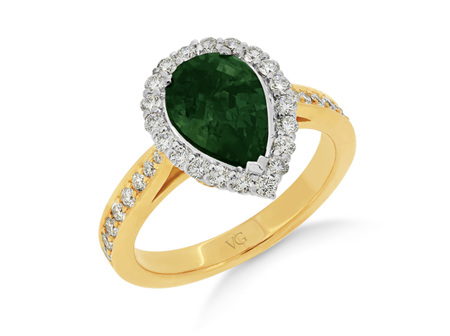 Pear Cut Green Sapphire Diamond Halo Ring