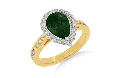 Pear Cut Green Sapphire Diamond Halo Ring