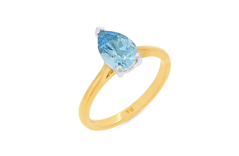 pear shape aquamarine solitaire ring