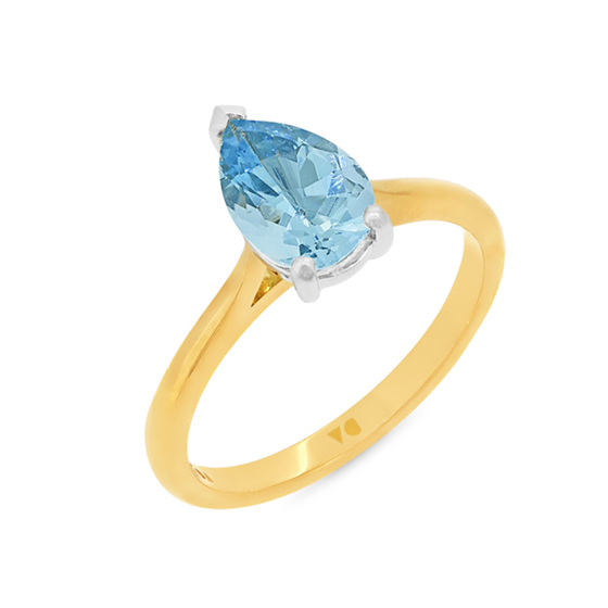 Pear Shaped Aquamarine Solitaire Ring