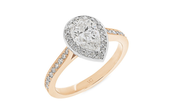 Pear Shaped Diamond Halo Ring, Platinum, White Gold, Yellow Gold, Rose Gold