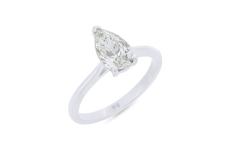 Pear Shaped Diamond Solitaire Ring, Platinum, White Gold, Yellow Gold, Rose Gold
