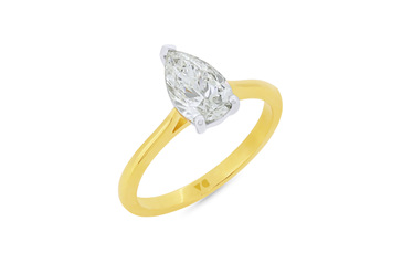 Pear Cut Diamond Solitaire Ring
