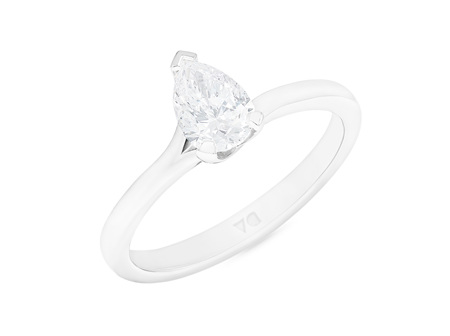 Pear Shaped Diamond Solitaire Twist Ring