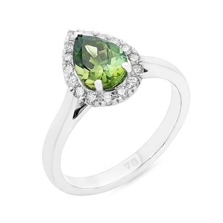 Pear Shaped Green Tourmaline and Diamond Halo Ring