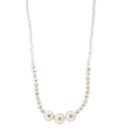 Pearl and Moonstone Bead Necklace