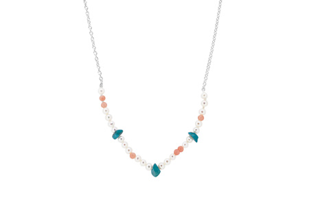 Pearl, Coral and Turquoise Bead Necklace on Sterling Silver Chain