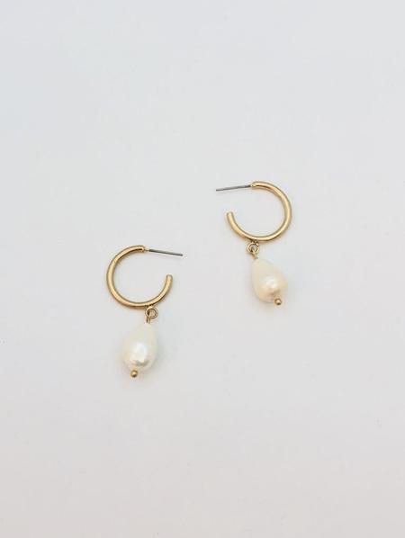 Pearl Earring on 3/4 Gold Hoop