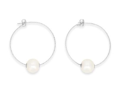 Sterling Silver Pearl Hoop Earrings