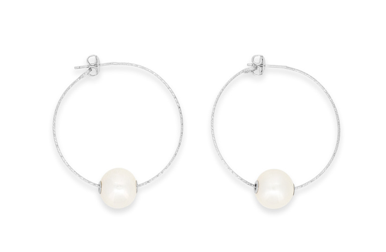 c9304c837 Sterling Silver Pearl Hoop Earrings - The Village Goldsmith