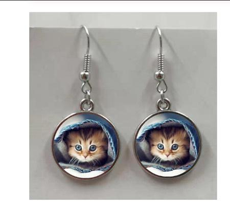 Peek a Boo Cat Glass Earrings