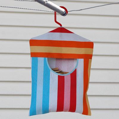peg pouch | bright stripe : blue trim