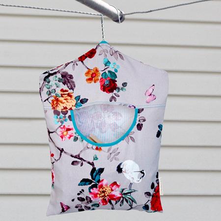 peg pouch | floral heron