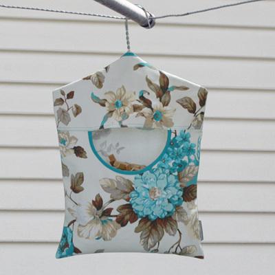 peg pouch   floral vintage teal