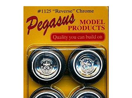 """Pegasus 1125 1/24-1/25 """"Chrome Reverse"""" Rims W/Tires Chrome"""