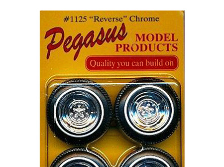 "Pegasus 1125 1/24 ""Chrome Reverse"" Rims W/Tires Chrome"