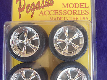 Pegasus 1274 1/24-1/25 T's Chrome Rims w/Tires (4)
