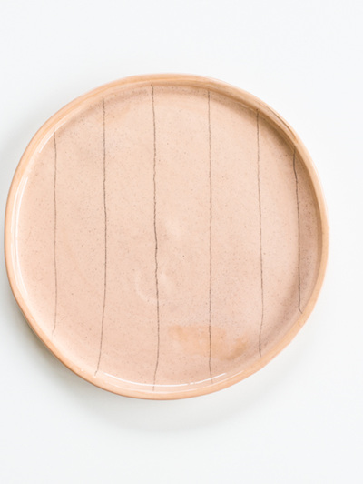 Pencil Stripe Large Plate - Dusty Pink