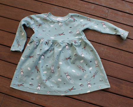 'Penny' winter dress in 'Cosy Bunnies' 100% Cotton Knit, 4 years