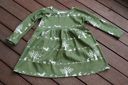 'Penny' winter dress in 'Forest Friends' certified organic cotton, 4 years