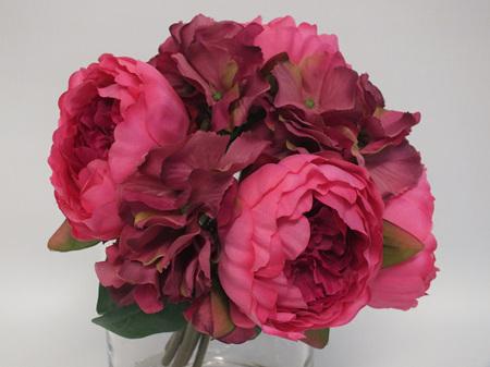Peony and Hydrangea Posy Hot Pink 4238