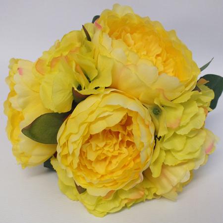 Peony and Hydrangea Posy Yellow  4241