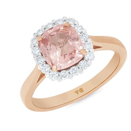 Peony: Peach Pink Spinel Diamond Halo Ring