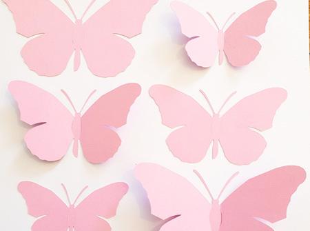 Peony pink paper butterflies