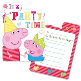 Peppa Pig Birthday Invites x 6