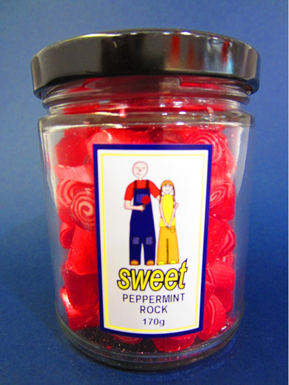 peppermint rock candy jar