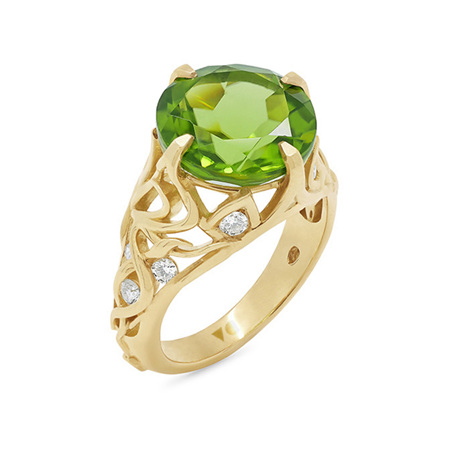 Peridot and Diamond Yellow Gold Dress Ring